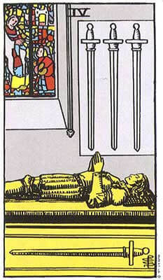 Four of Swords Meaning - Original Rider Waite Tarot Depiction