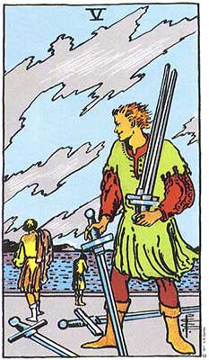 Five of Swords Meaning - Original Rider Waite Tarot Depiction
