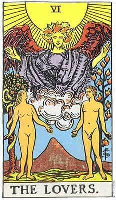 Lovers Meaning - Original Rider Waite Tarot Depiction