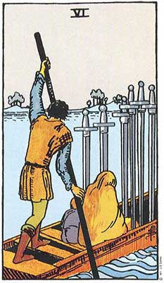 Six of Swords Meaning - Original Rider Waite Tarot Depiction