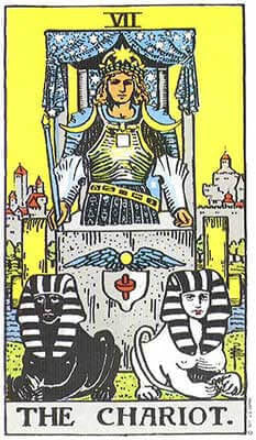 The Chariot Meaning - Original Rider Waite Tarot Depiction