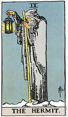 The Hermit Meaning - Original Rider Waite Tarot Depiction