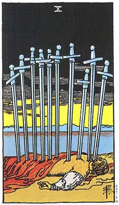 Ten of Swords Meaning - Original Rider Waite Tarot Depiction