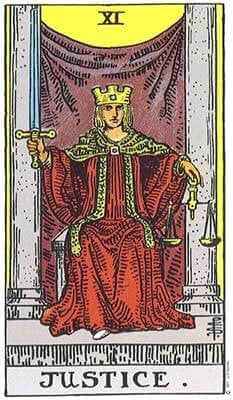 Justice Meaning - Original Rider Waite Tarot Depiction