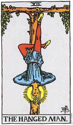 The Hanged Man Meaning - Original Rider Waite Tarot Depiction