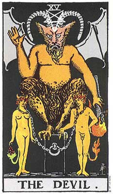 The Devil Meaning - Original Rider Waite Tarot Depiction
