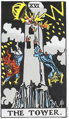 The Tower Meaning - Original Rider Waite Tarot Depiction