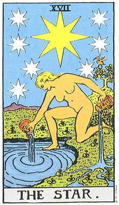 The Star Meaning - Original Rider Waite Tarot Depiction