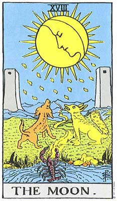 The Moon Meaning - Original Rider Waite Tarot Depiction