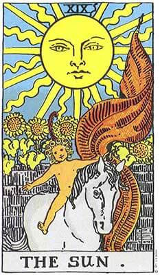 The Sun Meaning - Original Rider Waite Tarot Depiction