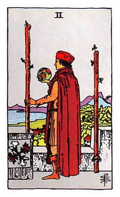 Two of Wands Meaning - Original Rider Waite Tarot Depiction