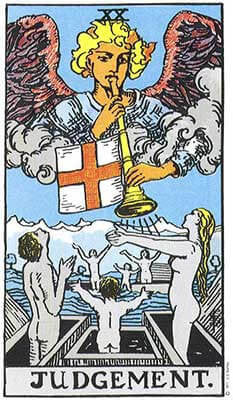 Judgement Meaning - Original Rider Waite Tarot Depiction