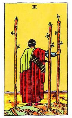 Three of Wands Meaning - Original Rider Waite Tarot Depiction