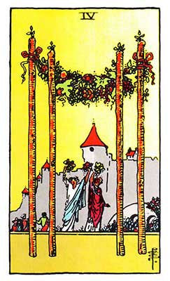 Four of Wands Meaning - Original Rider Waite Tarot Depiction