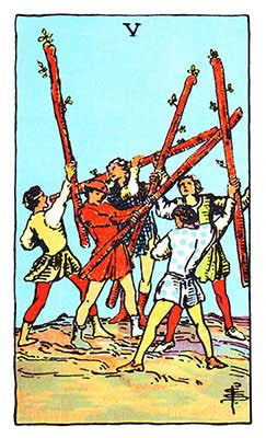 Five of Wands Meaning - Original Rider Waite Tarot Depiction