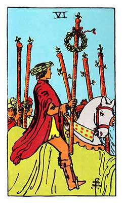 Six of Wands Meaning - Original Rider Waite Tarot Depiction