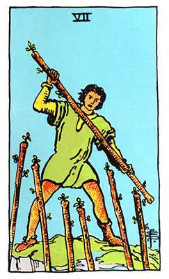 Seven of Wands Meaning - Original Rider Waite Tarot Depiction