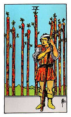 Nine of Wands Meaning - Original Rider Waite Tarot Depiction