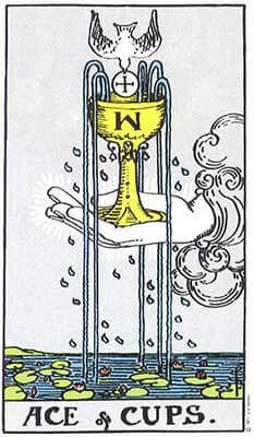 Ace of Cups Meaning - Original Rider Waite Tarot Depiction