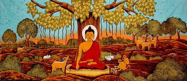 Buddha under the Bodhi tree, finding enlightenment - four of cups tarot symbols