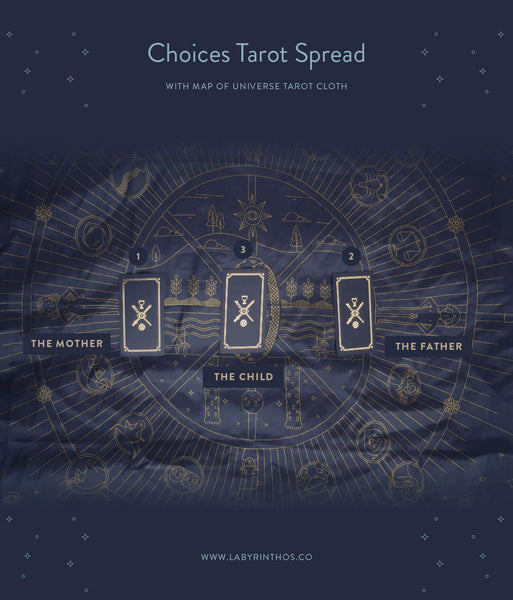 Choices Three Card Tarot Spread with Golden Thread Tarot Cloth