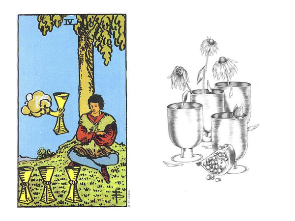 A comparison of the four of cups in the Rider Waite with the Luminous Tarot - four of cups meaning in tarot