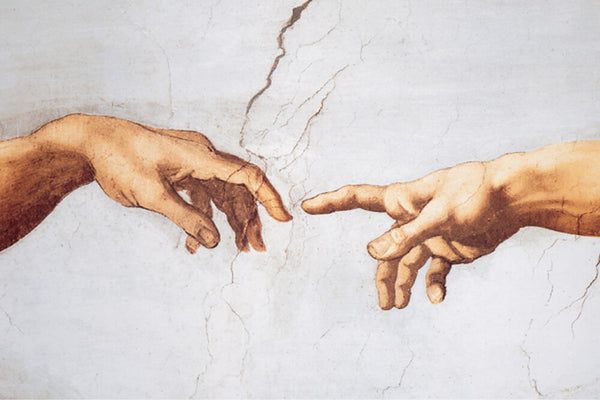 The Creation of Adam by Michelangelo adorns the ceiling of the Sistine Chapel, as a symbol of humanity.
