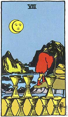Eight of Cups Meaning - Original Rider Waite Tarot Depiction