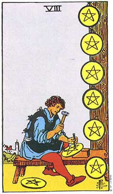 Eight of Pentacles Meaning - Original Rider Waite Tarot Depiction