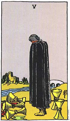Five of Cups Meaning - Original Rider Waite Tarot Depiction