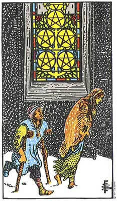 Five of Pentacles Meaning - Original Rider Waite Tarot Depiction