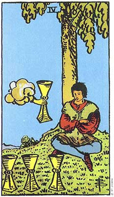 Four of Cups Meaning - Original Rider Waite Tarot Depiction