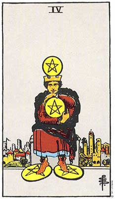 Four of Pentacles Meaning - Original Rider Waite Tarot Depiction