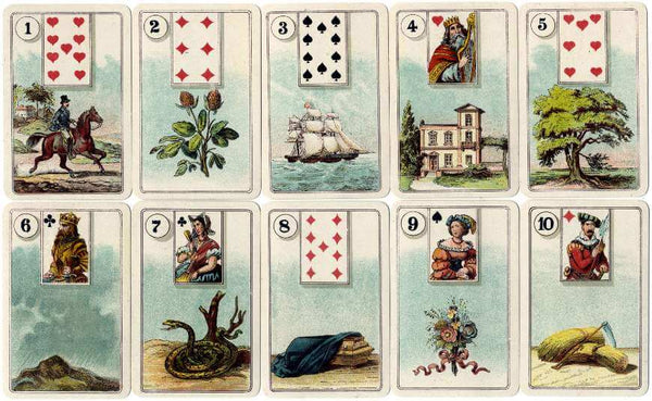 Some cards from the Gibson Lenormand, vintage Lenormand Cards