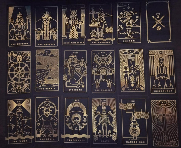 Some Major Arcana cards from the second edition of the Golden Thread Tarot
