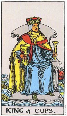King of Cups Meaning - Original Rider Waite Tarot Depiction