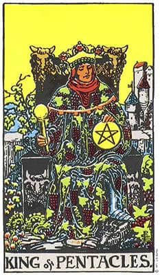 King of Pentacles Meaning - Original Rider Waite Tarot Depiction