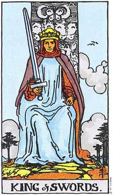 King of Swords Meaning - Original Rider Waite Tarot Depiction