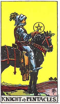 Knight of Pentacles Meaning - Original Rider Waite Tarot Depiction