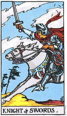 Knight of Swords Meaning - Original Rider Waite Tarot Depiction