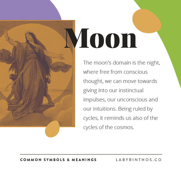 Symbol Meanings of the Tarot - The Moon - Learning Tarot with Labyrinthos