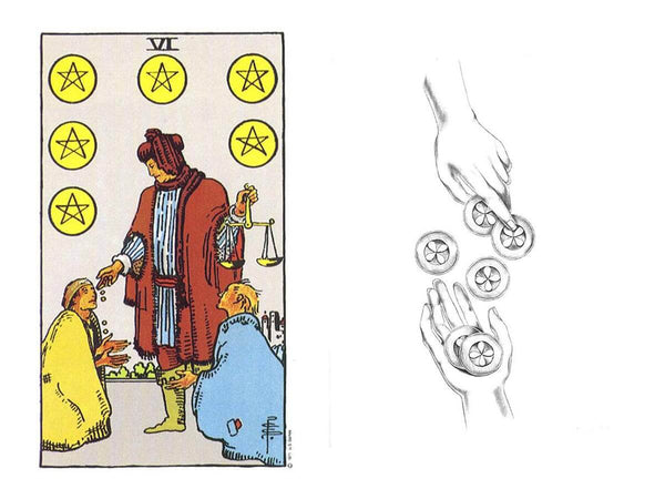 A comparison of the six of pentacles in the Rider Waite with the Luminous Tarot.
