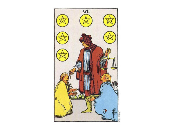 The original depiction of the six of pentacles tarot card in the Rider Waite deck.