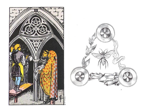 Comparison of the three of pentacles in the Rider Waite deck and the Luminous Spirit Deck