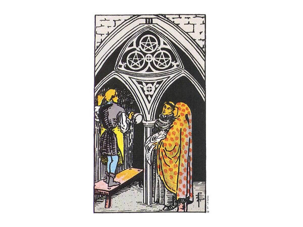 The meaning of three of pentacles in the Rider Waite deck