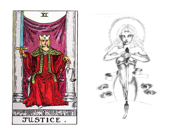 Justice tarot card meaning in the Rider Waite deck vs Luminous Spirit