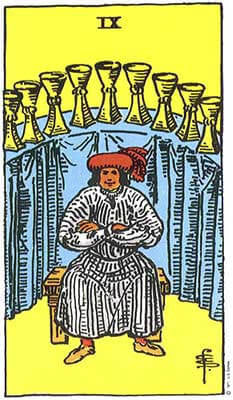 Nine of Cups Meaning - Original Rider Waite Tarot Depiction