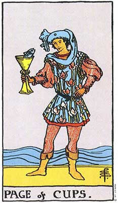Page of Cups Meaning - Original Rider Waite Tarot Depiction