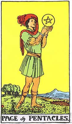Page of Pentacles Meaning - Original Rider Waite Tarot Depiction