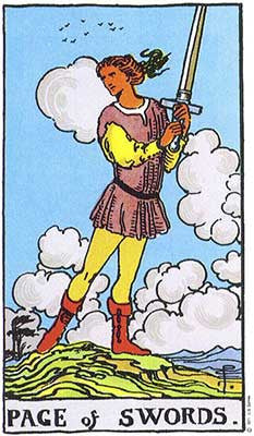 Page of Swords Meaning - Original Rider Waite Tarot Depiction